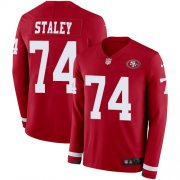 Wholesale Cheap Nike 49ers #74 Joe Staley Red Team Color Men's Stitched NFL Limited Therma Long Sleeve Jersey