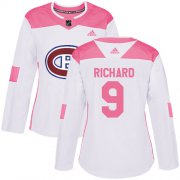 Wholesale Cheap Adidas Canadiens #9 Maurice Richard White/Pink Authentic Fashion Women's Stitched NHL Jersey