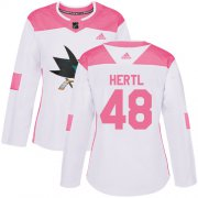 Wholesale Cheap Adidas Sharks #48 Tomas Hertl White/Pink Authentic Fashion Women's Stitched NHL Jersey
