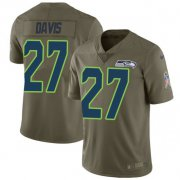 Wholesale Cheap Nike Seahawks #27 Mike Davis Olive Men's Stitched NFL Limited 2017 Salute to Service Jersey