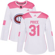 Wholesale Cheap Adidas Canadiens #31 Carey Price White/Pink Authentic Fashion Women's Stitched NHL Jersey