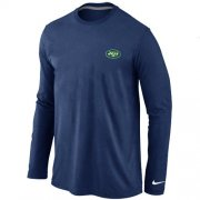 Wholesale Cheap Nike New York Jets Sideline Legend Authentic Logo Long Sleeve T-Shirt Dark Blue