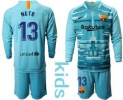 Wholesale Cheap Barcelona #13 Neto Light Blue Goalkeeper Long Sleeves Kid Soccer Club Jersey