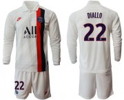 Wholesale Cheap Paris Saint-Germain #22 Diallo Away Long Sleeves Soccer Club Jersey