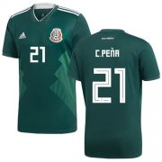 Wholesale Cheap Mexico #21 C.Pena Green Home Soccer Country Jersey