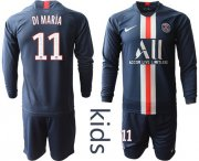 Wholesale Cheap Paris Saint-Germain #11 Di Maria Home Long Sleeves Kid Soccer Club Jersey