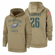 Wholesale Cheap Philadelphia Eagles #26 Miles Sanders Nike Tan 2019 Salute To Service Name & Number Sideline Therma Pullover Hoodie