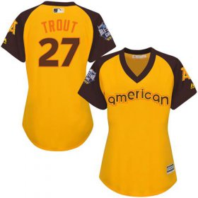 Wholesale Cheap Angels #27 Mike Trout Gold 2016 All-Star American League Women\'s Stitched MLB Jersey