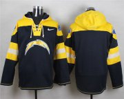 Wholesale Cheap Nike Chargers Blank Navy Blue Player Pullover NFL Hoodie