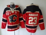 Wholesale Flames #23 Sean Monahan Red Sawyer Hooded Sweatshirt Stitched NHL Jersey