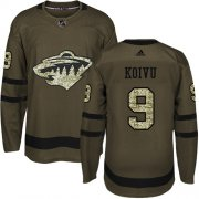 Wholesale Cheap Adidas Wild #9 Mikko Koivu Green Salute to Service Stitched Youth NHL Jersey