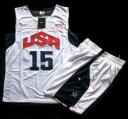 Wholesale Cheap 2012 Olympic USA Team #15 Carmelo Anthony White Basketball Jerseys & Shorts Suit