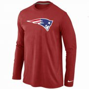 Wholesale Cheap Nike New England Patriots Logo Long Sleeve T-Shirt Red