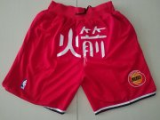 Wholesale Cheap Men's Houston Rockets 1993-94 Red Just Don Shorts Swingman Shorts