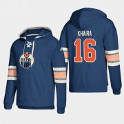 Wholesale Cheap Edmonton Oilers #16 Jujhar Khaira Royal adidas Lace-Up Pullover Hoodie