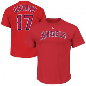 Wholesale Cheap Los Angeles Angels #17 Shohei Ohtani Majestic Official Name & Number T-Shirt Red