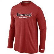 Wholesale Cheap Nike Tampa Bay Buccaneers Authentic Font Long Sleeve T-Shirt Red