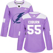 Cheap Adidas Lightning #55 Braydon Coburn Purple Authentic Fights Cancer Women's Stitched NHL Jersey