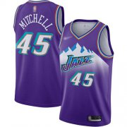 Wholesale Cheap Jazz #45 Donovan Mitchell Purple Basketball Swingman Hardwood Classics Jersey
