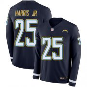 Wholesale Cheap Nike Chargers #25 Chris Harris Jr Navy Blue Team Color Youth Stitched NFL Limited Therma Long Sleeve Jersey