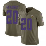 Wholesale Cheap Nike Vikings #20 Jeff Gladney Olive Youth Stitched NFL Limited 2017 Salute To Service Jersey