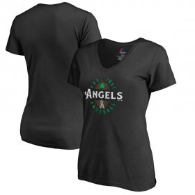 Wholesale Cheap Los Angeles Angels Majestic Women\'s Forever Lucky V-Neck T-Shirt Black