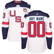 Wholesale Cheap Men's Adidas Team USA Personalized Authentic White Home 2016 World Cup NHL Jersey