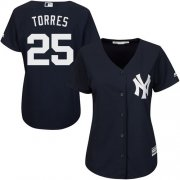 Wholesale Cheap Yankees #25 Gleyber Torres Navy Blue Alternate Women's Stitched MLB Jersey