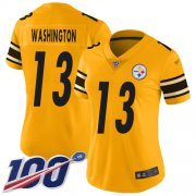Wholesale Cheap Nike Steelers #13 James Washington Gold Women's Stitched NFL Limited Inverted Legend 100th Season Jersey