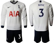 Wholesale Cheap Tottenham Hotspur #3 Rose Home Long Sleeves Soccer Club Jersey