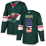 Wholesale Cheap Adidas Wild #9 Mikko Koivu Green Home Authentic USA Flag Stitched Youth NHL Jersey