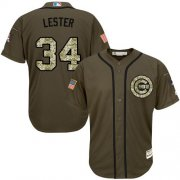 Wholesale Cheap Cubs #34 Jon Lester Green Salute to Service Stitched MLB Jersey