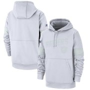 Wholesale Cheap Las Vegas Raiders Nike NFL 100 2019 Sideline Platinum Therma Pullover Hoodie White