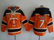 Wholesale Cheap Twins #7 Joe Mauer Orange Sawyer Hooded Sweatshirt MLB Hoodie