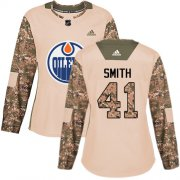 Wholesale Cheap Adidas Oilers #41 Mike Smith Camo Authentic 2017 Veterans Day Women's Stitched NHL Jersey
