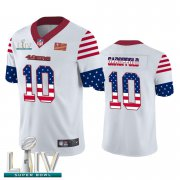 Wholesale Cheap San Francisco 49ers #10 Jimmy Garoppolo White Super Bowl LIV 2020 Men's Nike Team Logo USA Flag Vapor Untouchable Limited NFL Jersey