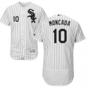 Wholesale Cheap White Sox #10 Yoan Moncada White(Black Strip) Flexbase Authentic Collection Stitched MLB Jersey