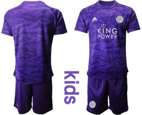 Wholesale Cheap Leicester City Blank Purple Goalkeeper Kid Soccer Club Jersey