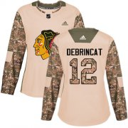 Wholesale Cheap Adidas Blackhawks #12 Alex DeBrincat Camo Authentic 2017 Veterans Day Women's Stitched NHL Jersey