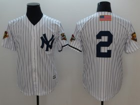 Wholesale Cheap Yankees #2 Derek Jeter White Strip New Cool Base 2001 World Series Stitched MLB Jersey