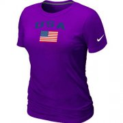 Wholesale Cheap Women's USA Olympics USA Flag Collection Locker Room T-Shirt Purple