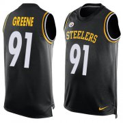 Wholesale Cheap Nike Steelers #91 Kevin Greene Black Team Color Men's Stitched NFL Limited Tank Top Jersey