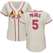 Wholesale Cheap Cardinals #5 Albert Pujols Cream Alternate Women's Stitched MLB Jersey