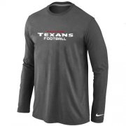 Wholesale Cheap Nike Houston Texans Authentic Font Long Sleeve T-Shirt Dark Grey