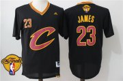 Wholesale Cheap Men's Cleveland Cavaliers LeBron James #23 2017 The NBA Finals Patch New Black Short-Sleeved Jersey