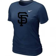 Wholesale Cheap Women's San Francisco Giants Heathered Nike Dark Blue Blended T-Shirt