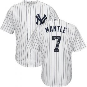 Wholesale Cheap Yankees #7 Mickey Mantle White Strip Team Logo Fashion Stitched MLB Jersey