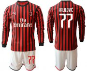 Wholesale Cheap AC Milan #77 Halilovic Home Long Sleeves Soccer Club Jersey