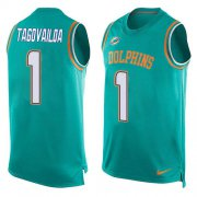 Wholesale Cheap Nike Dolphins #1 Tua Tagovailoa Aqua Green Team Color Men's Stitched NFL Limited Tank Top Jersey
