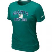 Wholesale Cheap Women's Nike New York Giants Heart & Soul NFL T-Shirt Light Green